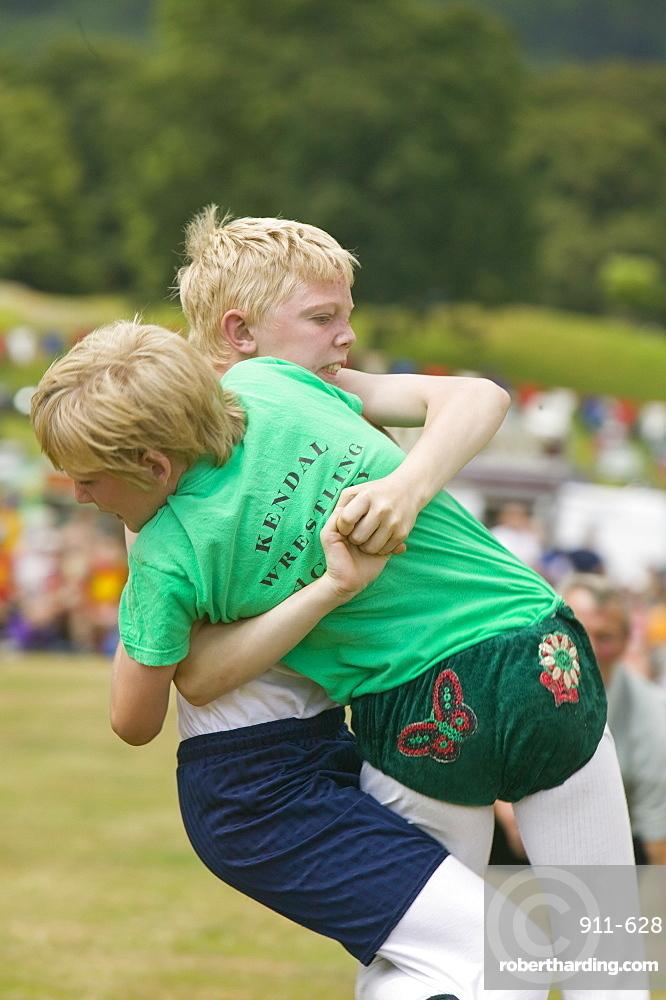 Children Cumberland Wrestling at Ambleside Sports, Lake District, Cumbria, England, United Kingdom, Europe