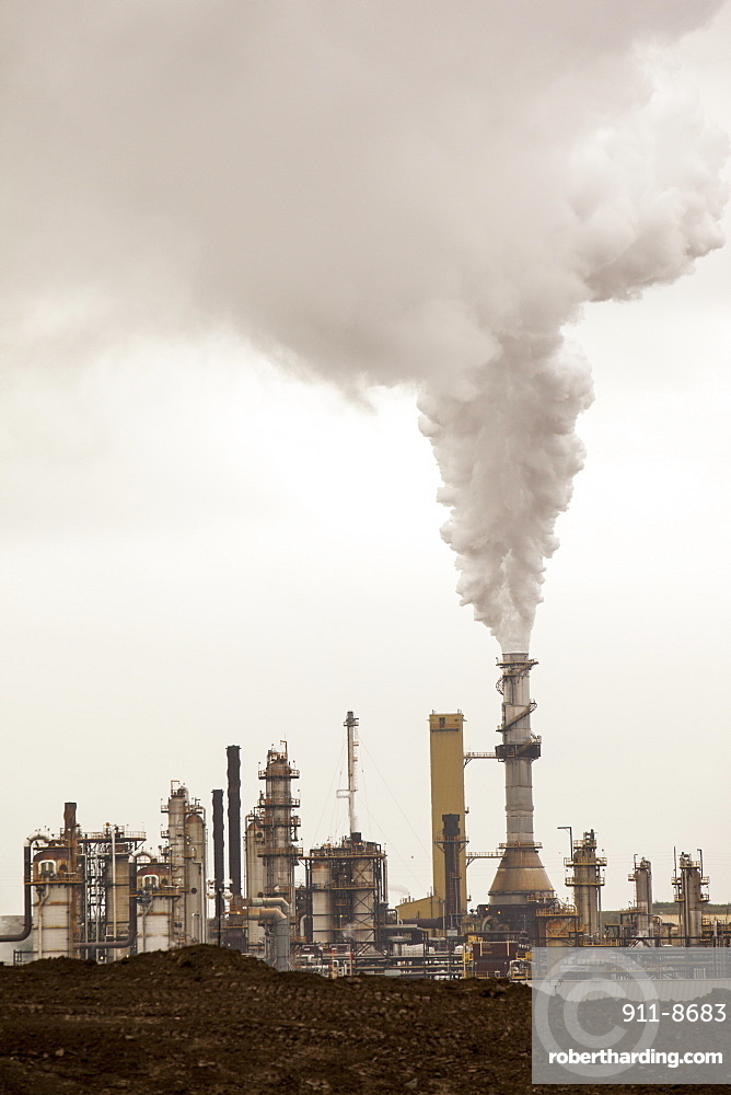 The Syncrude upgrader plant on the tar sands project, Alberta, Canada, North America
