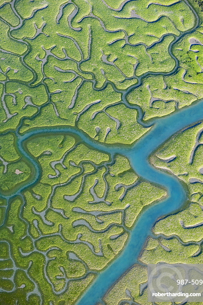 Aerial view of saltmarsh at low tide near Cadiz, Spain