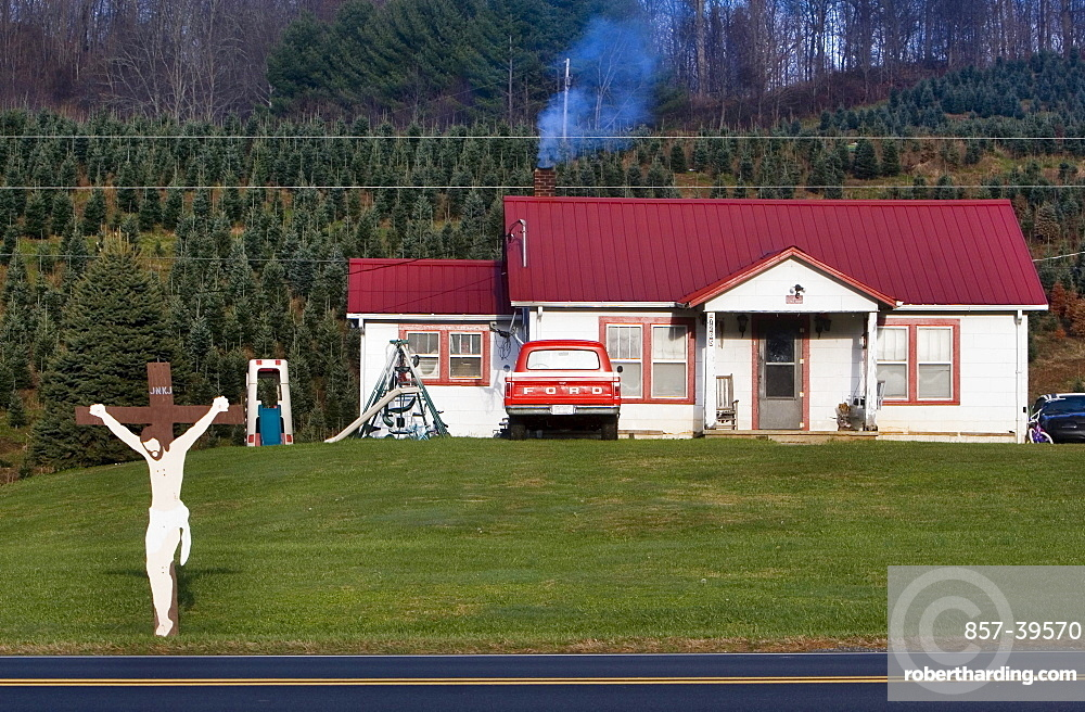 A Christmas tree farmer's house in Vilas, North Carolina.
