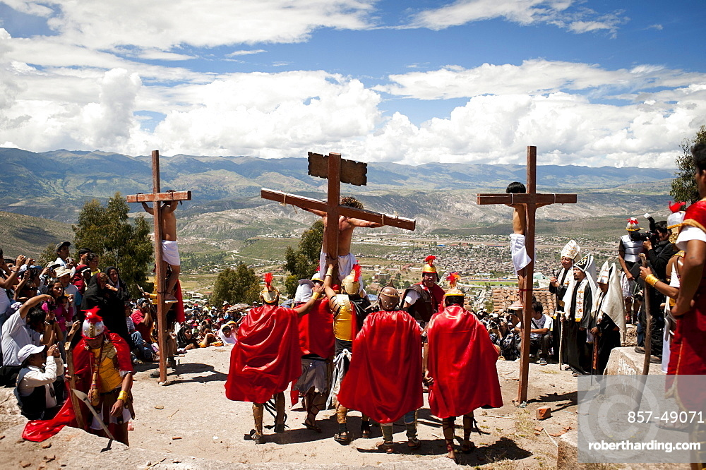Actors perform a living stations of the cross on Friday during Holy Week in Ayacucho, Peru.