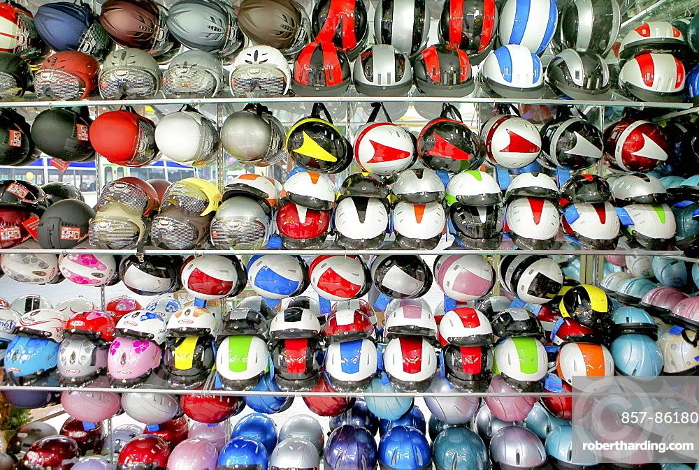 Helmets store in Ho Chi Minh City, Saigon, Mekong Delta, Vietnam.
