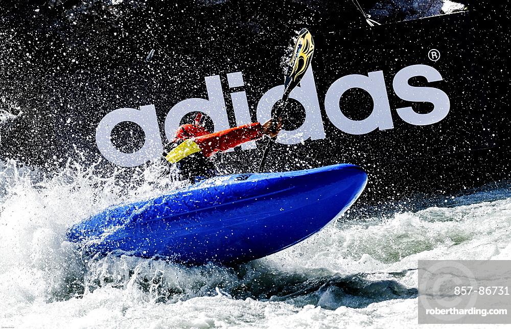 Kayaker Eric Jackson (USA) riding the Ötztaler Ache-River during the Adidas Sickline Extreme Kayaking World Championship 2014 in Oetz, Austria.
