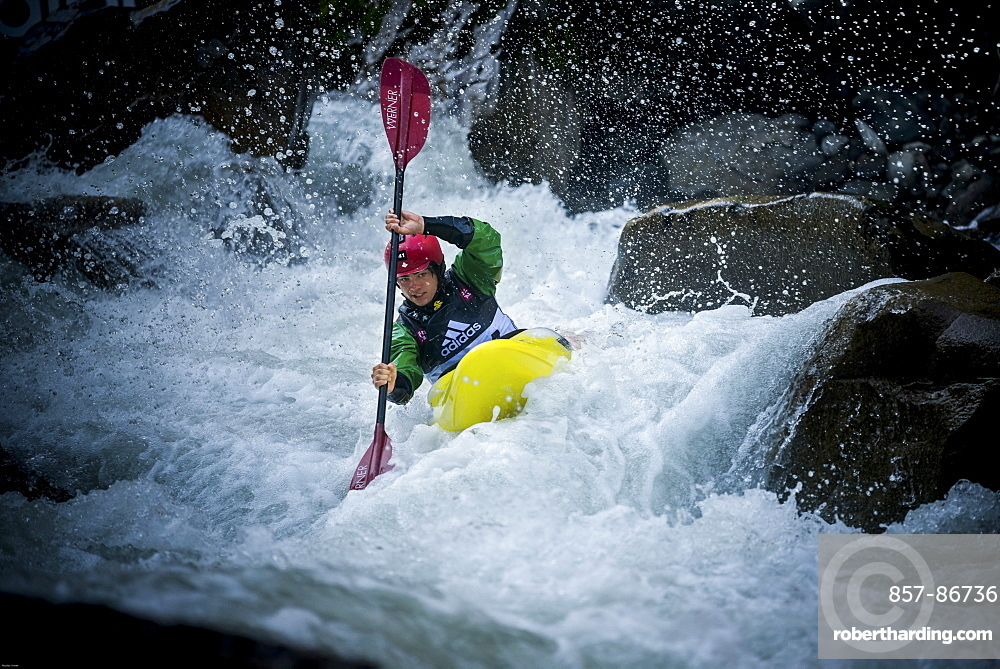 Kayaker Barney Prees (GBR) riding the Ötztaler Ache-River during the Adidas Sickline Extreme Kayaking World Championship 2014 in Oetz, Austria.
