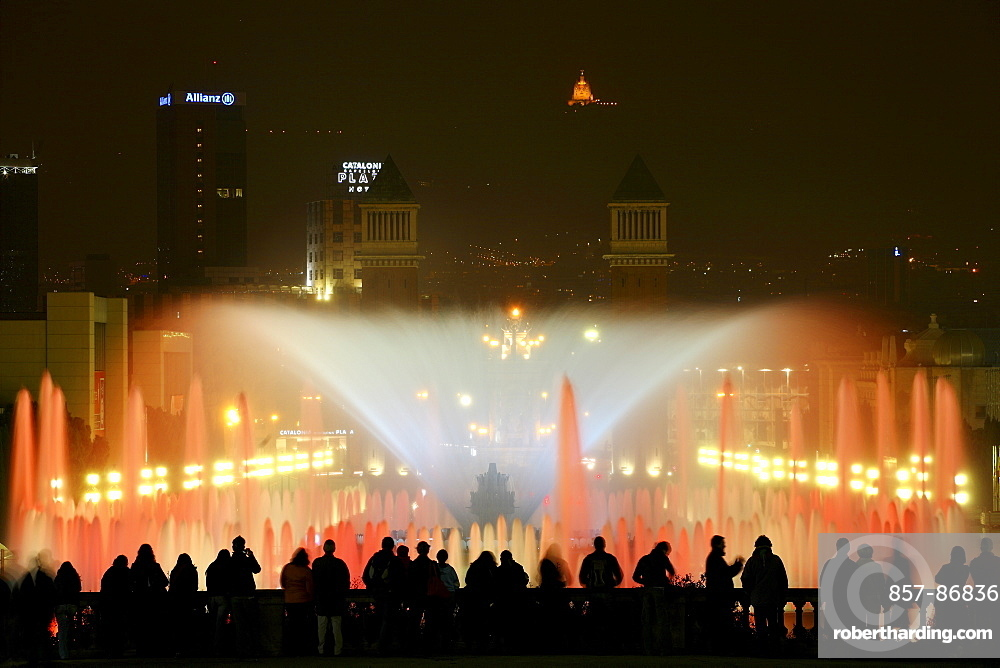 Illuminated fountain and light show at the National Art Museum of Catalonia also known by its acronym MNAC, is located in the city of Barcelona, Spain.