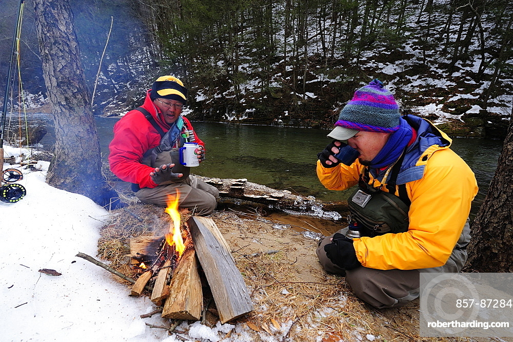 Nothing beats campfire coffee on a freezing cold fishing day.