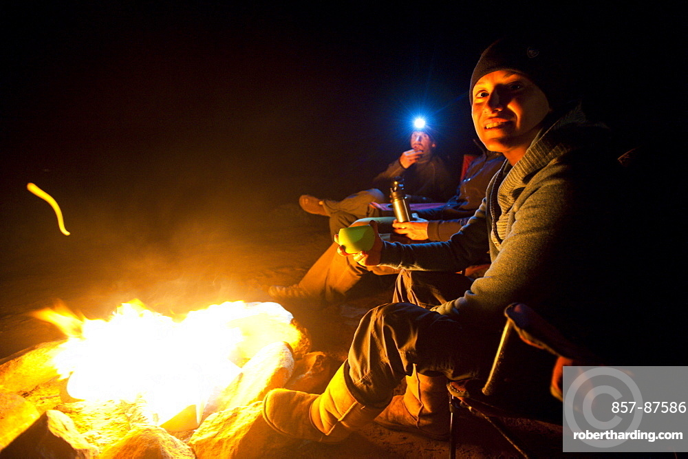 Maria Hidalgo and Dave Steiner enjoys the campfire in Moab, Utah