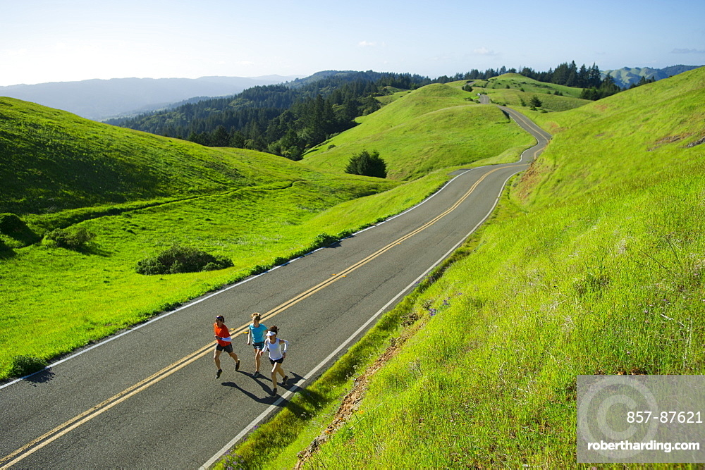 A group run trails in the Marin Headlands in California.