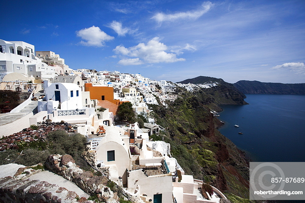 Cliffside view of Oia on Santorini, Greece.