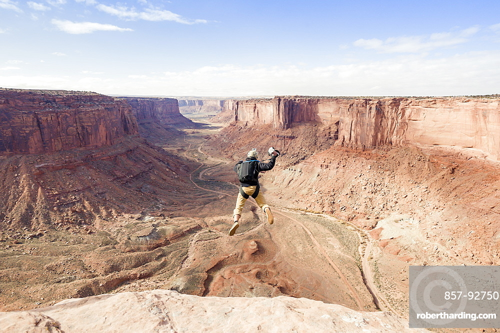 base jumpers going off at the Turkey Boogie near Moab, Utah