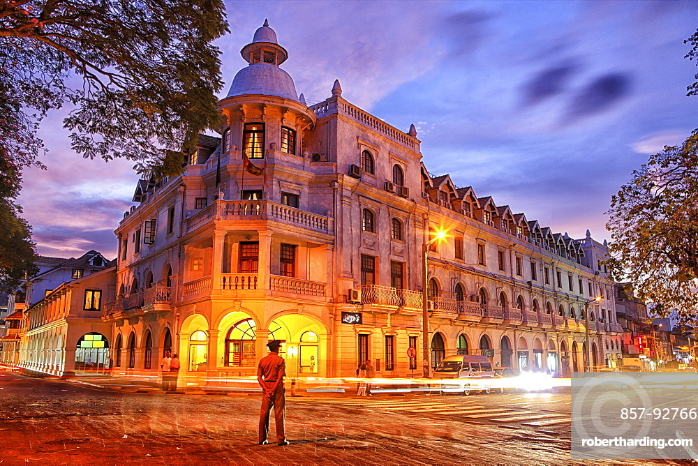 The colonial Queens Hotel and downtown in Kandy, Sri Lanka