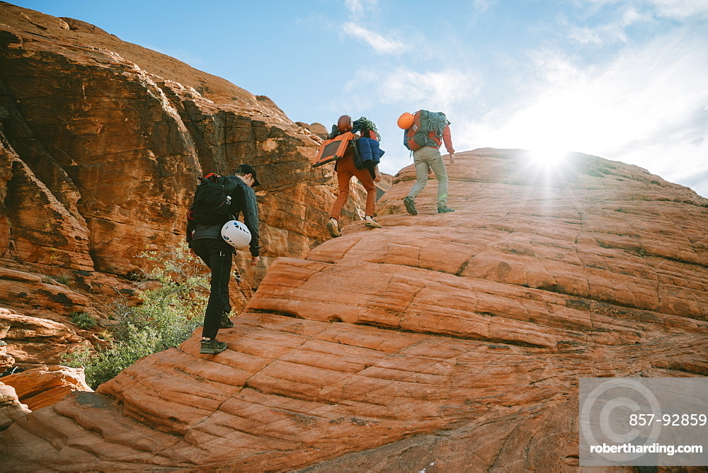 Climbers hiking to Panty Wall in Red Rock Canyon, Nevada