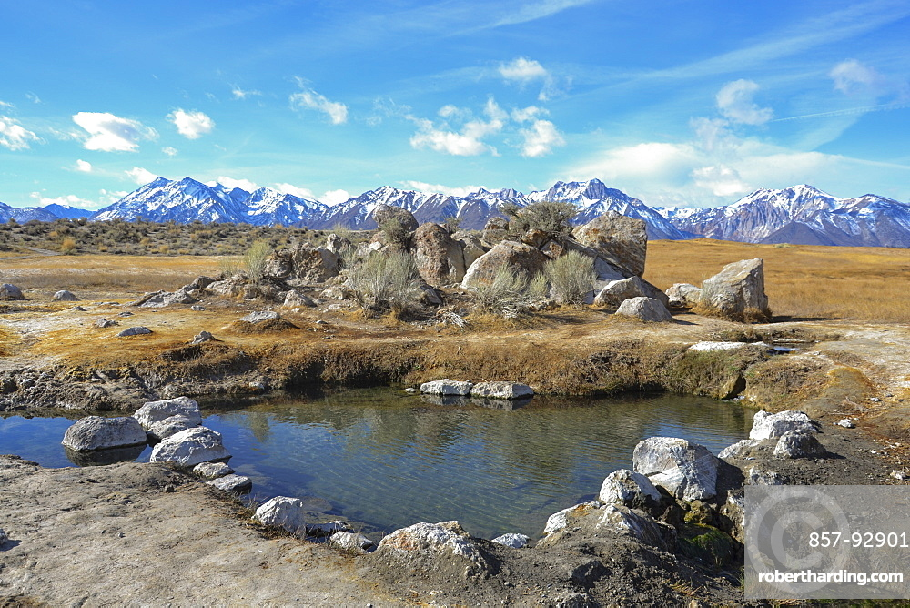Wild Willy's Hot Springs waits to sooth sore bodies. Owens River Valley, with the Eastern SIerra Nevada on the horizon.