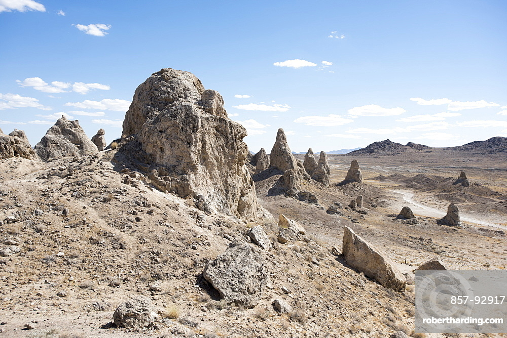 The Trona Pinnacles are pictured on a hot summer day in Trona, Calif., on June 7, 2015. The unique formations, known as tufa towers, are primarily made of calcium carbonate and were formed when the springs interacted with the water in what was once Searles Lake.
