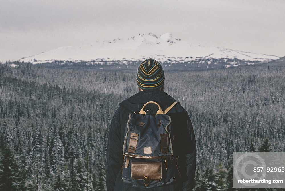 Hipster portrait outdoors while enjoying nature in Oregon.