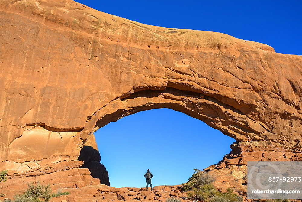 Looking for adventure at South Window Arch in Arches National Park.