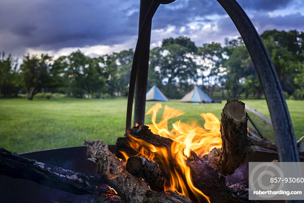 A campfire in a meadow in the Utah Mountains