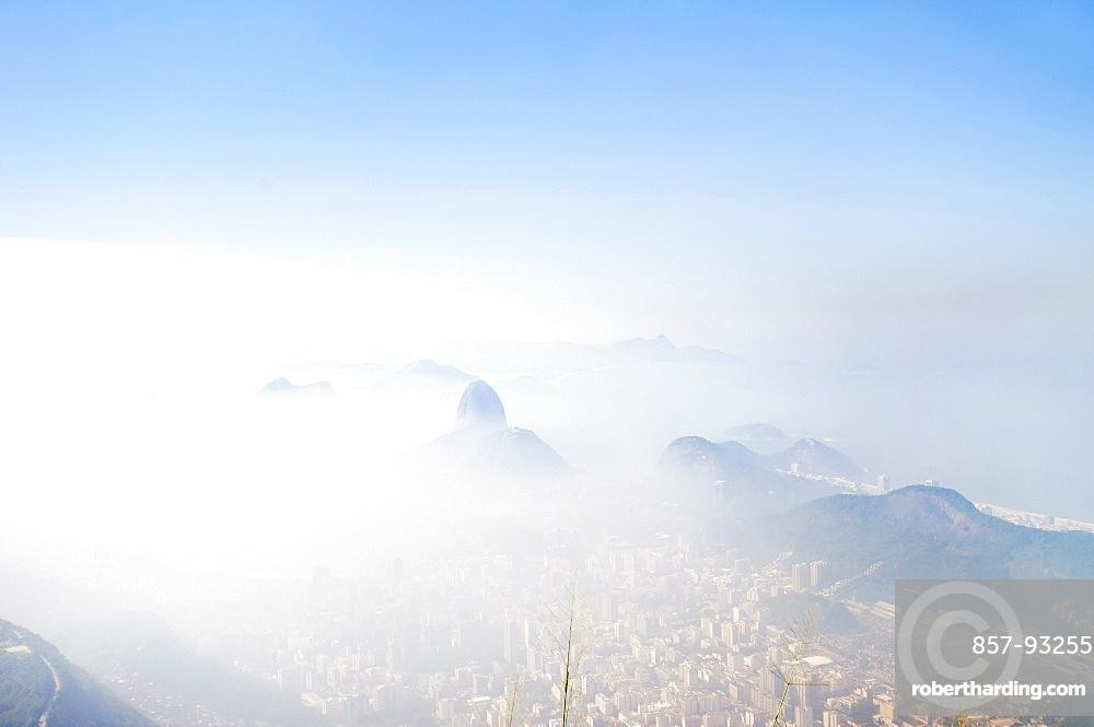 Rio de Janeiro city skyline in a fog