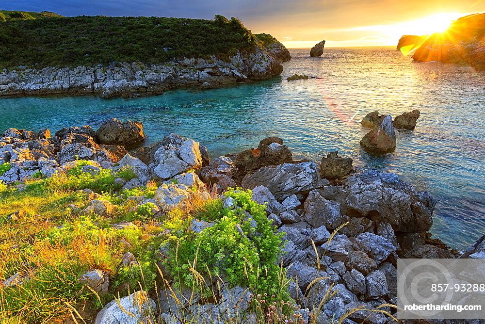 Scenic View Of Buelna Beach In Asturias, Spain