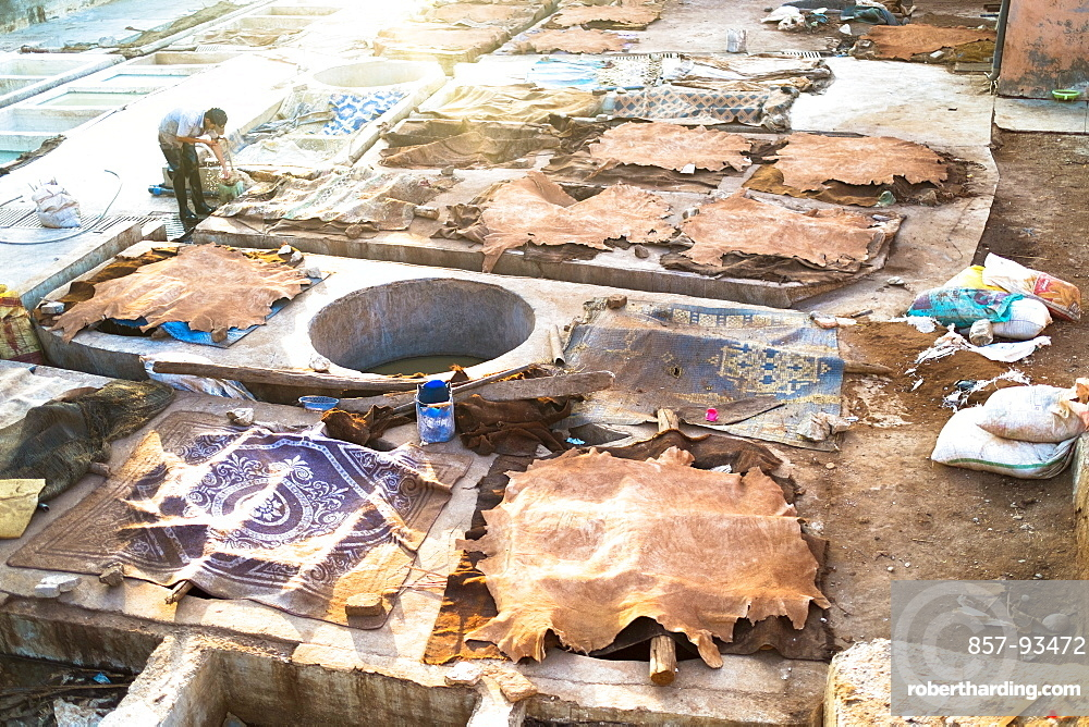 Animal Hides Drying At The Leather Tanneries In Bab Debbagh In The Medina
