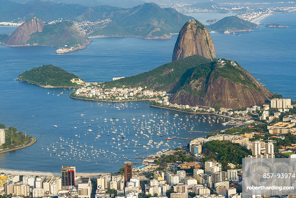 Aerial view of Sugarloaf Mountain and marina in Rio de Janeiro