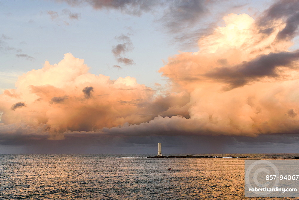 Farol de Itacare lighthouse on a beautiful sunset, South Bahia, Brazil