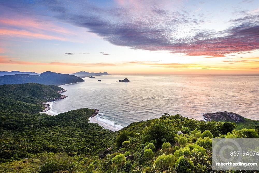 An idyllic view during sunrise from Pedra do Telegrafo in Barra de Guaratiba, Rio de Janeiro, Brazil