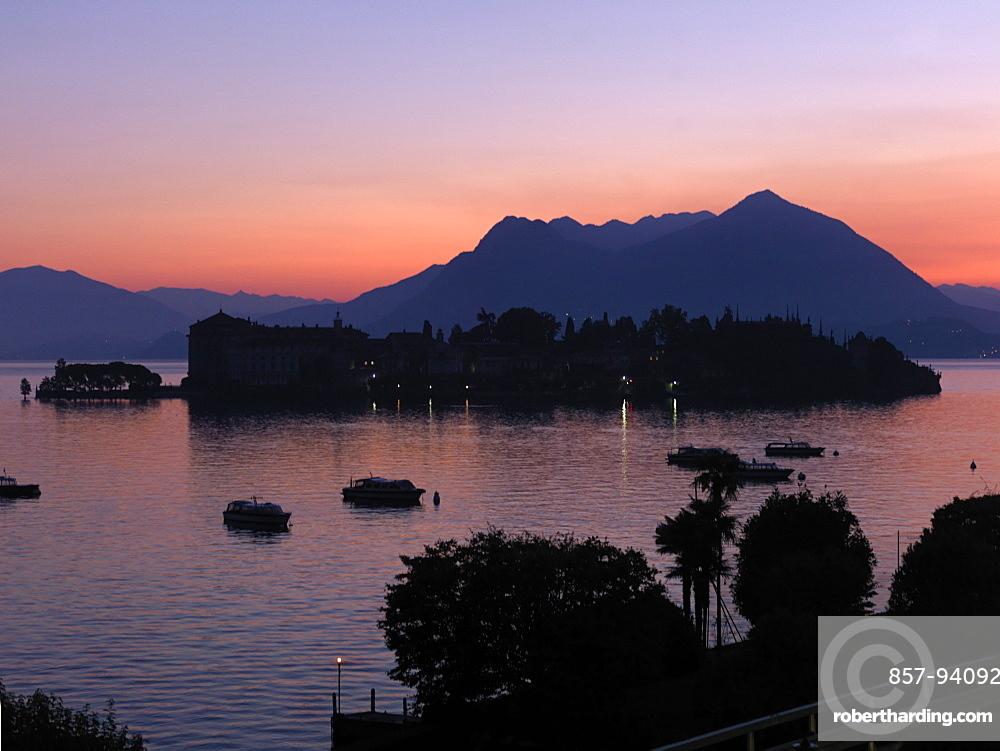 Sunset light over Lago Maggiore and Isola Bella