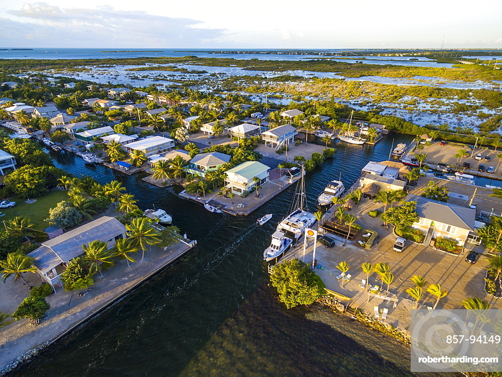 Aerial View Of Miami Beach With Houses And Harbor