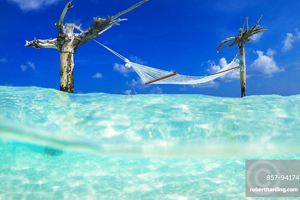 Famous hammock hanging above sea at Gili Lankanfushi island