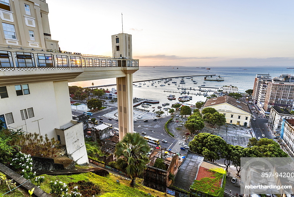 Aerial view of Elevador Lacerda in historic downtown of Salvador, Bahia, Brazil