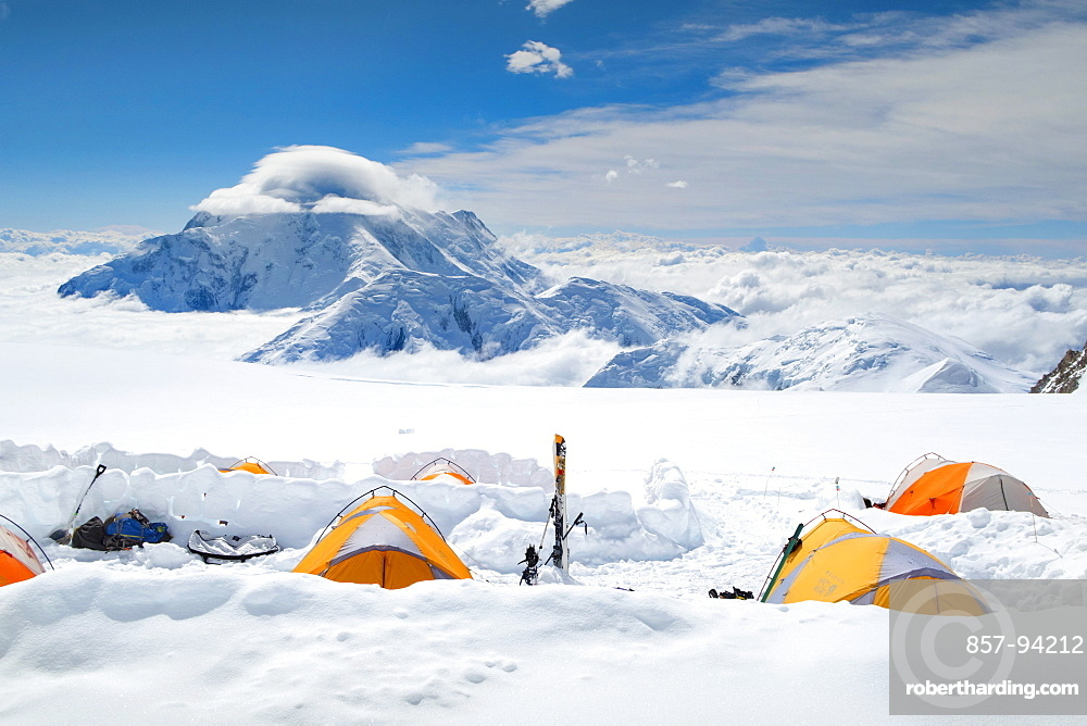A Camping On The Kahiltna Glacier Of Denali In Alaska