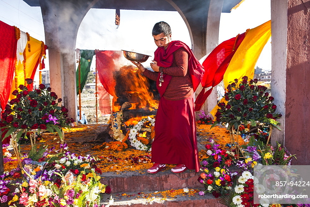 Cremation Ceremony Of Former King Of Mustang, Teku, Nepal