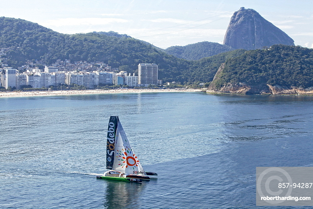 Thomas Coville and the Ultime Class 100' VPLP designed trimaran Sodebo in Rio de Janeiro, Brazil. Thomas Coville (FRA) and his 31m maxi trimaran Sodebo Ultim? has successfully broken the solo round the world record, completing the 28400 nm route in 49 days 3 hours 7 minutes and 38 seconds.