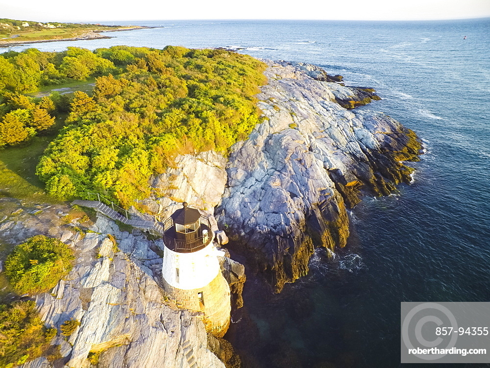 Drone aerial of Castle Hill in Newport, Rhode Island at sunset (Drone)