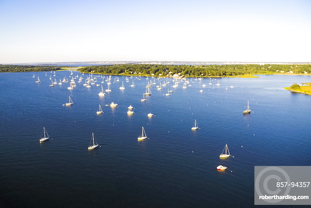Aerial drone view of boats at anchor and moorings in Dutch Harbor of Narragansett Bay, Rhode Island (Drone)