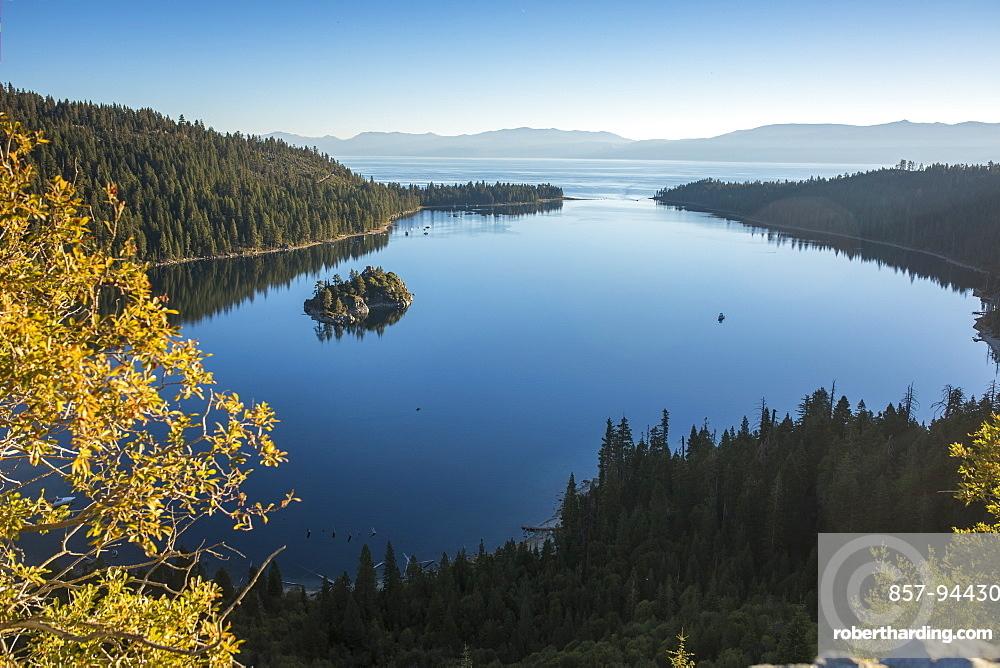Stunning still waters of Emerald Bay, Lake Tahoe.