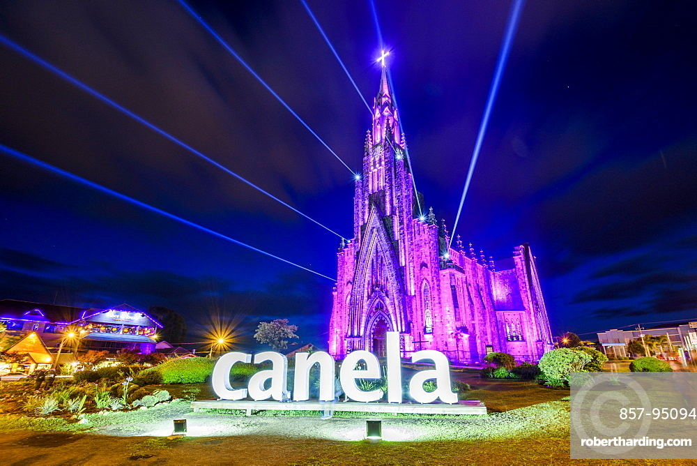 Rock Cathedral at night with lights on in central Canela, Rio Grande do Sul, Brazil