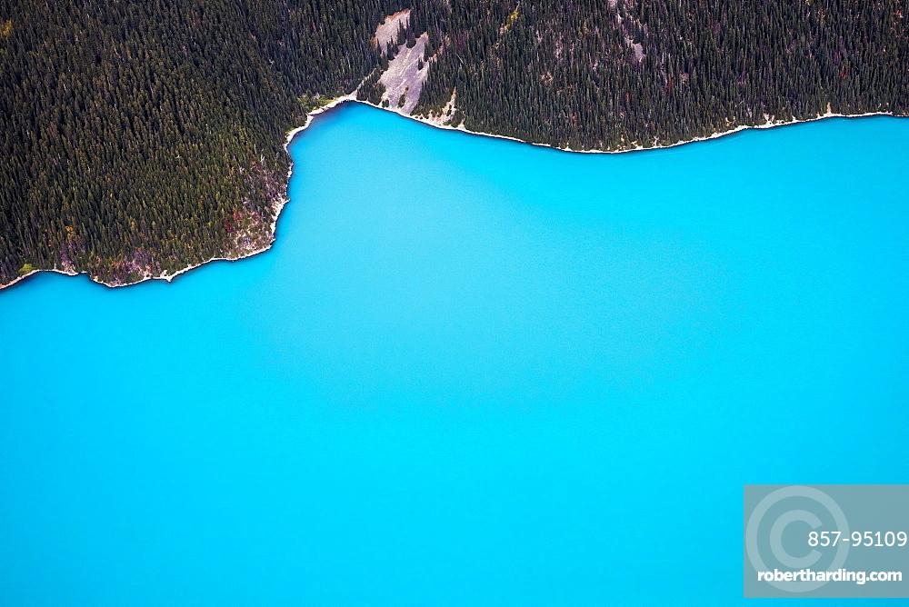 Aerial view of shore of Garibaldi Lake, Garibaldi Provincial Park, Whistler, British Columbia, Canada