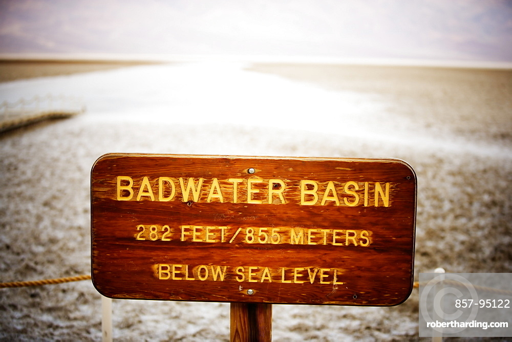 Bad Water Basin sign. Death Valley National Park, California.