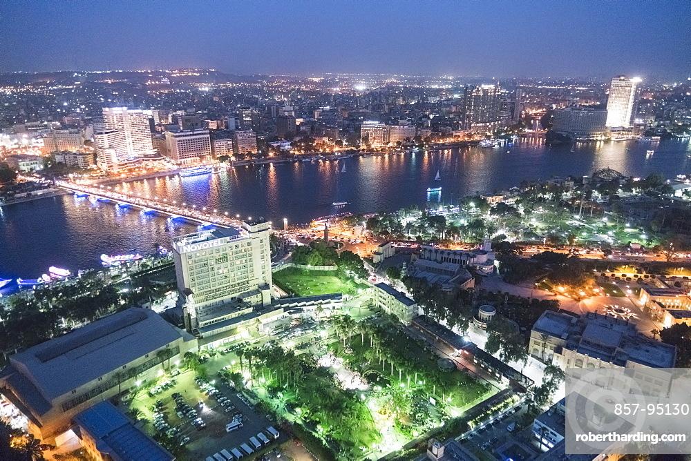 High angle view of illuminated city at night, Zamalek, Cairo, Egypt