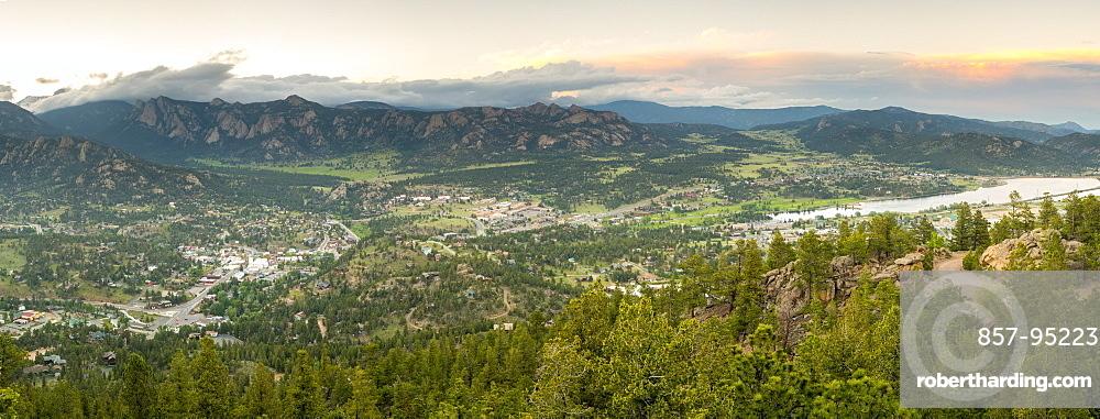 Panorama of downtown Estes Park with Lumpy Ridge in the background, Estes Park, Colorado, USA