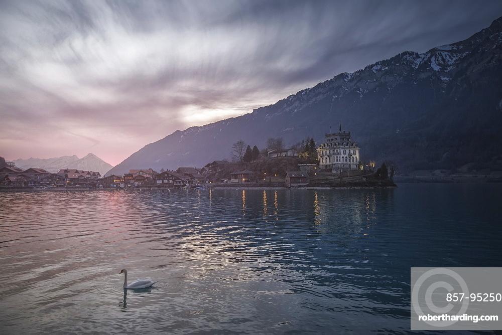 Iseltwald village on shore of Lake Brienz, Bern Canton, Switzerland