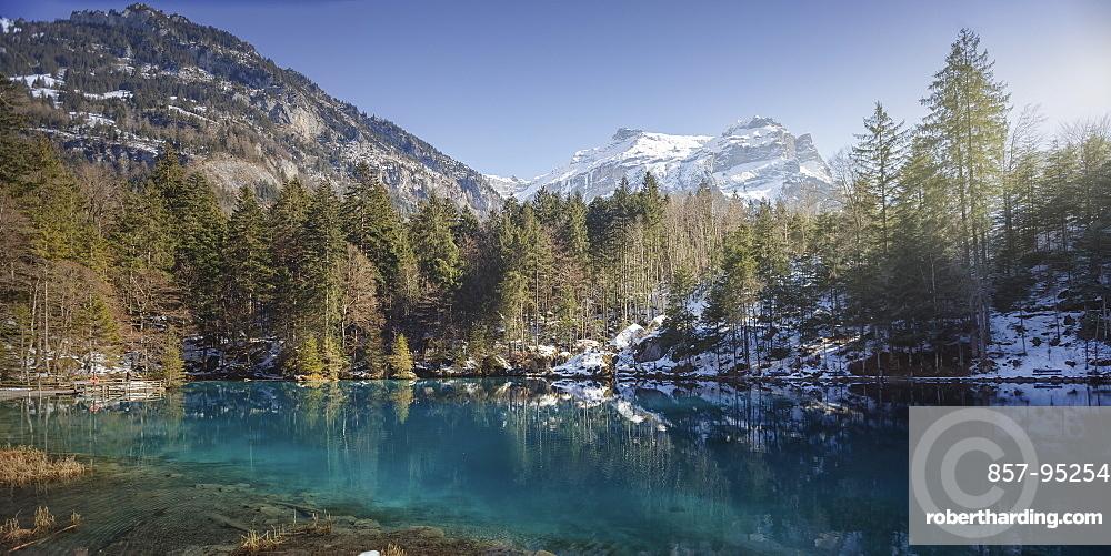 Scenic view of Blausee lake, Bern Canton, Switzerland