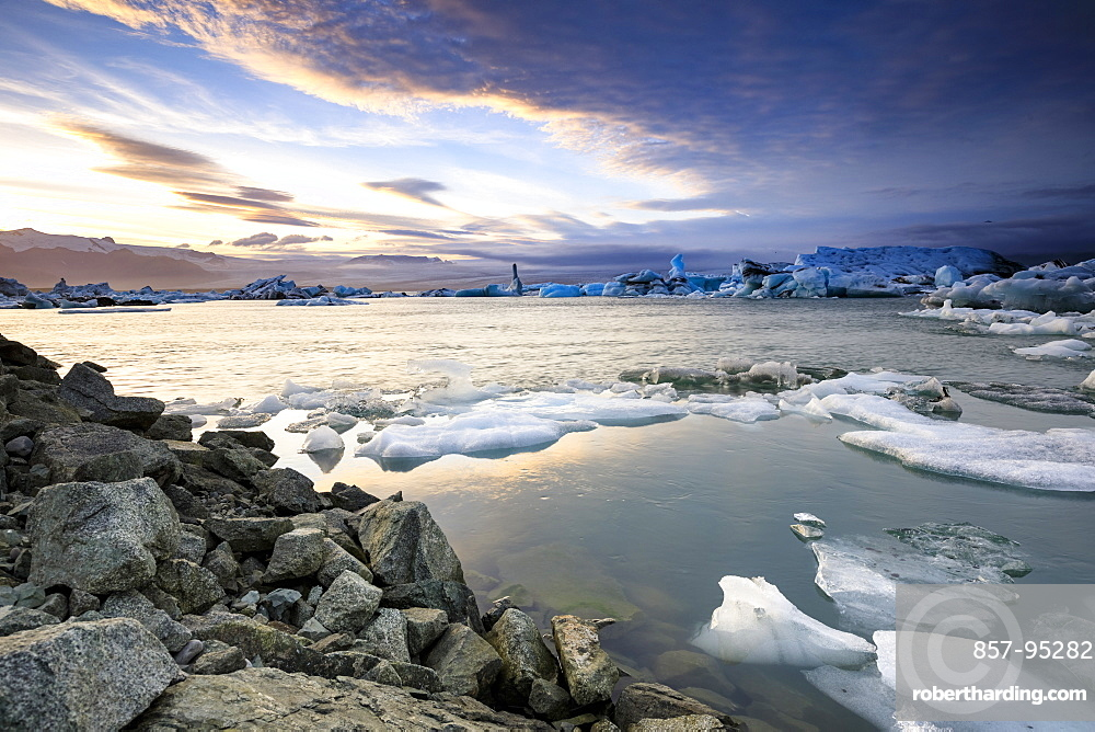 Majestic natural scenery of icebergs floating on water in Jokulsarlon glacier lagoon, Iceland