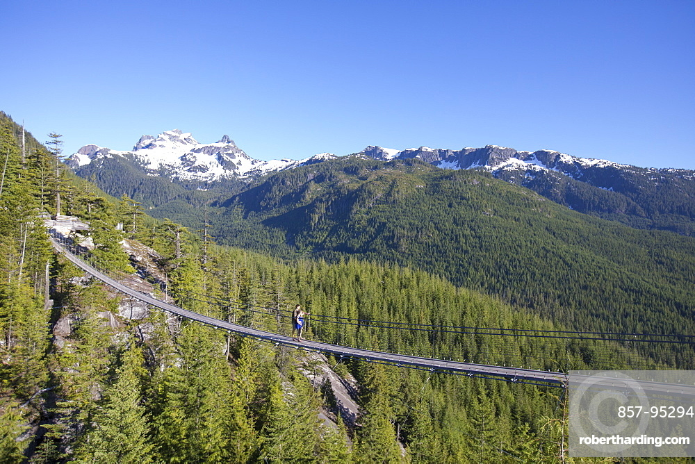 Distant view shot of couple on rope bridge at top of Sea to Sky Gondola, Vancouver, British Columbia, Canada