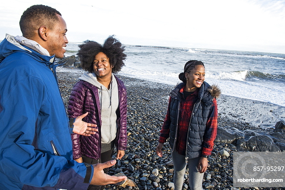 Three smiling African American people standing on gravel beach and talking