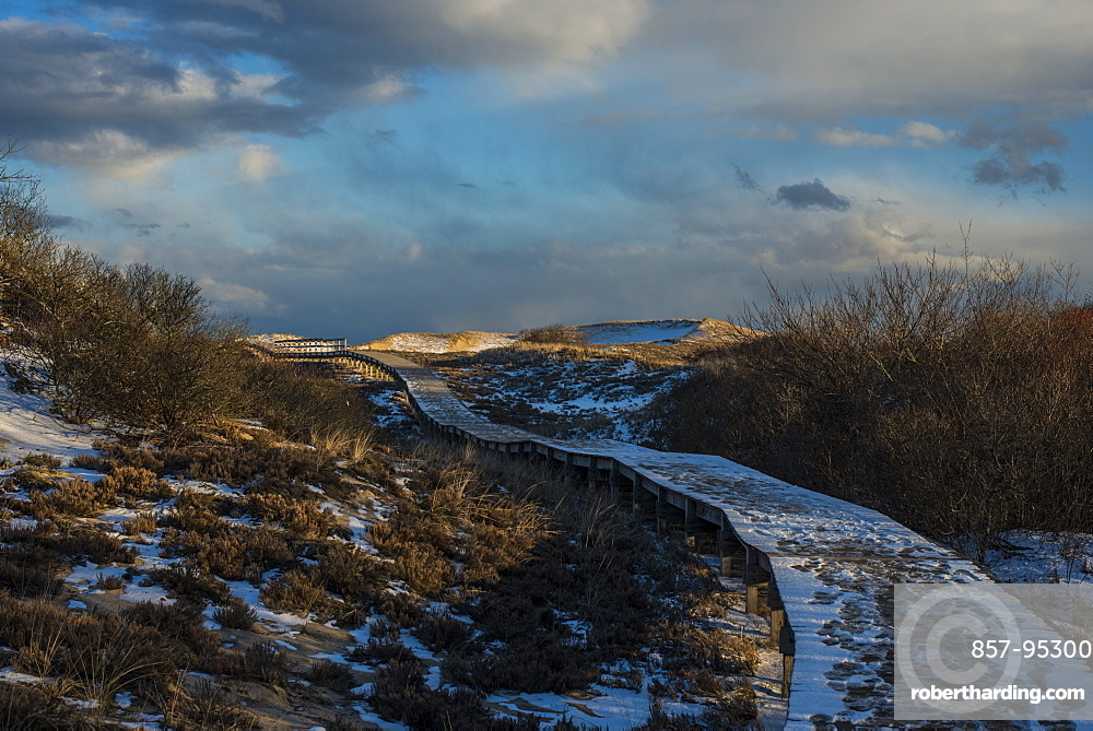 Scenic view of boardwalk between sand dunes in winter, Plum Island, Parker River Wildlife Refuge, Newburyport, Massachusetts, USA
