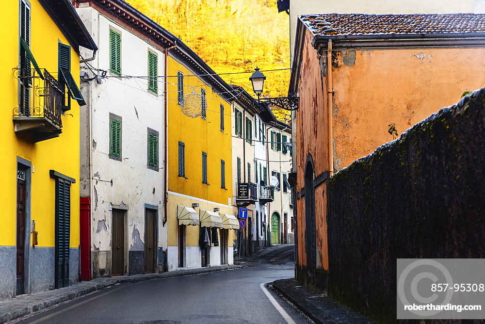 View of narrow street in old town of Barga, Tuscany, Italy