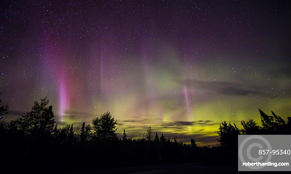 View of aurora borealis in sky at night above silhouettes of tree
